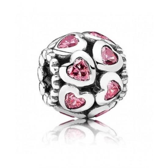 Pandora Bead-Silver Openwork Pink Cz Hearts Jewelry