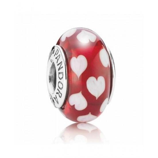 Pandora Charm-Red And White Hearts Murano Glass Bead Jewelry