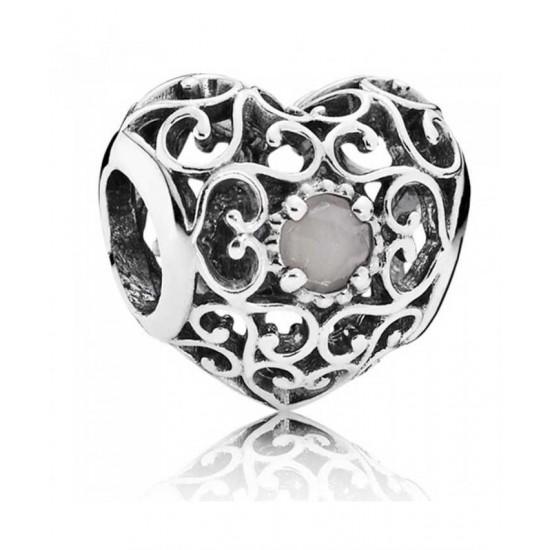 Pandora Charm-Silver June Birthstone Signature Heart Jewelry
