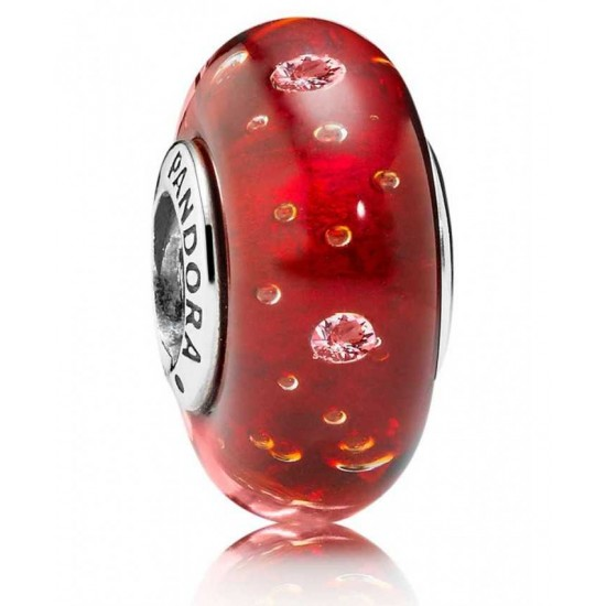 Pandora Charm-Silver Red Fizzle Murano Glass Jewelry
