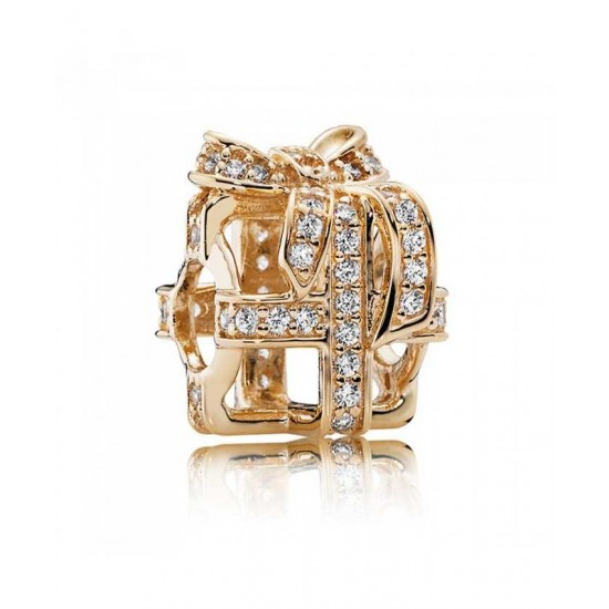 Pandora Charm-14ct Gold All Wrapped Up Openwork Jewelry