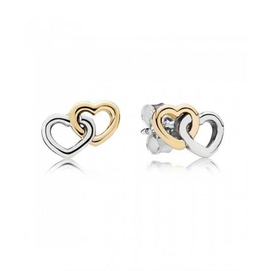Pandora Earring-Silver 14ct Gold Interlocked Heart Stud Jewelry