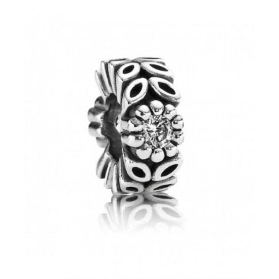 Pandora Spacer-Silver Sparkling Forest Flower Jewelry