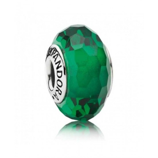 Pandora Bead-Silver Green Faceted Murano Glass Jewelry