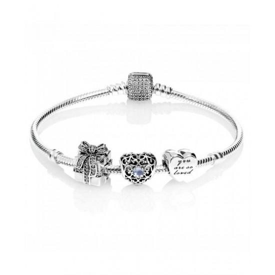 Pandora Bracelet-Sparkling March Birthstone Complete Jewelry