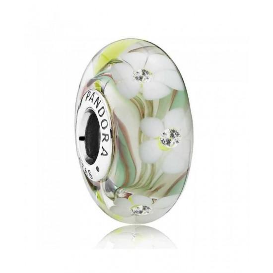 Pandora Charm-Silver Cubic Zirconia Multi Coloured Floral Murano Glass Jewelry
