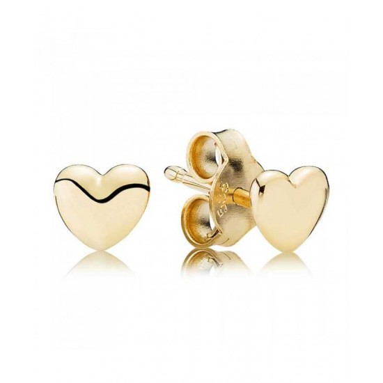 Pandora Earring-14ct Plain Heart Stud Jewelry