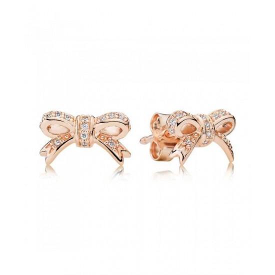 Pandora Earring-Rose Bow Stud Cubic Zirconia Jewelry