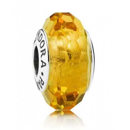 Pandora Bead-Silver Gold Faceted Murano Glass Jewelry