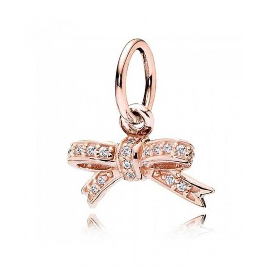 Pandora Pendant-Rose Sparkling Bow Jewelry