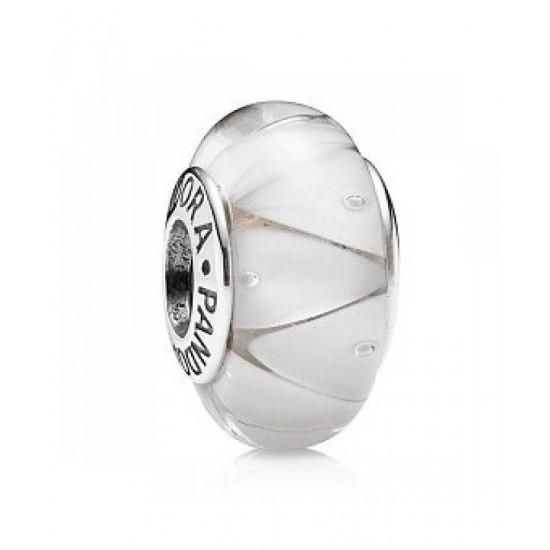Pandora Charm-Silver And White Murano Glass Jewelry