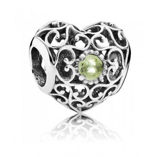 Pandora Charm-Silver August Birthstone Signature Heart Jewelry