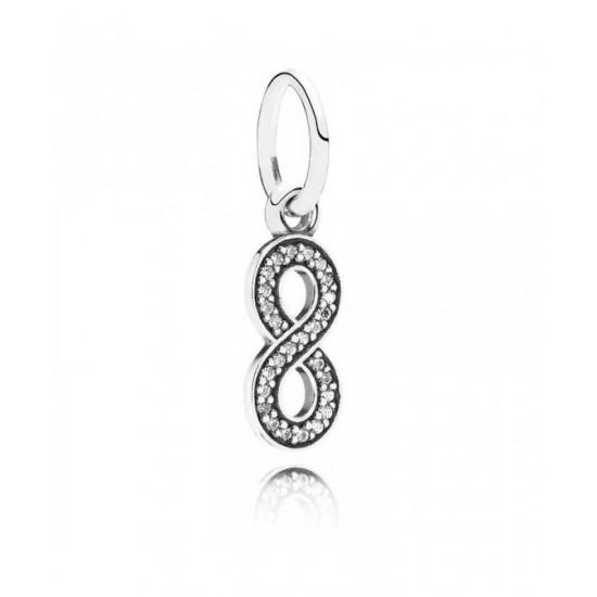 Pandora Charm-Silver Cubic Zirconia Infinity Dropper Jewelry