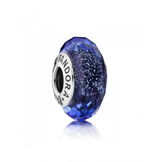 Pandora Charm-Silver Iridescent Blue Faceted Glass Jewelry