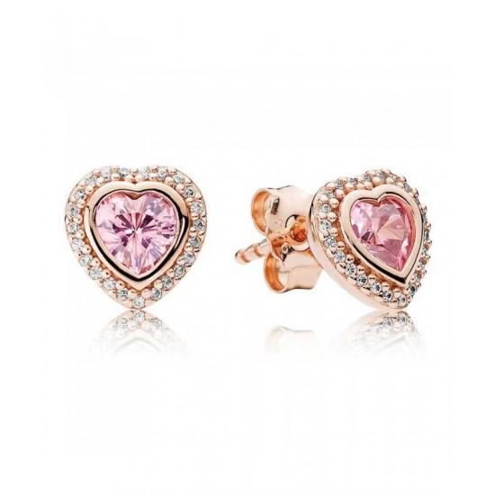 Pandora Earring-Rose Pink Sparkling Love Stud Jewelry