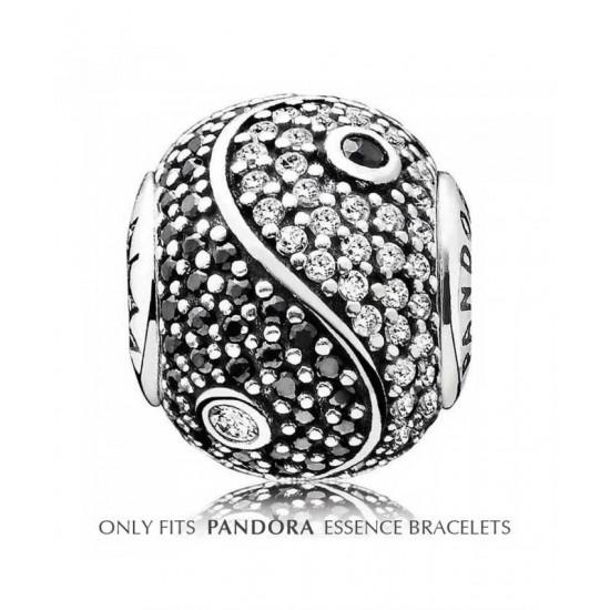 Pandora Charm-Essence Silver Clear And Black Cubic Zirconia Balance Jewelry