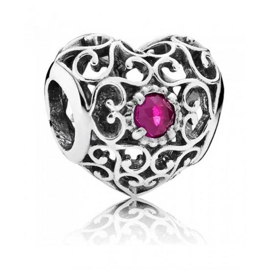 Pandora Charm-Silver July Birthstone Signature Heart Jewelry