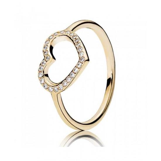 Pandora Ring-14ct Gold Cubic Zirconia Open Heart Jewelry
