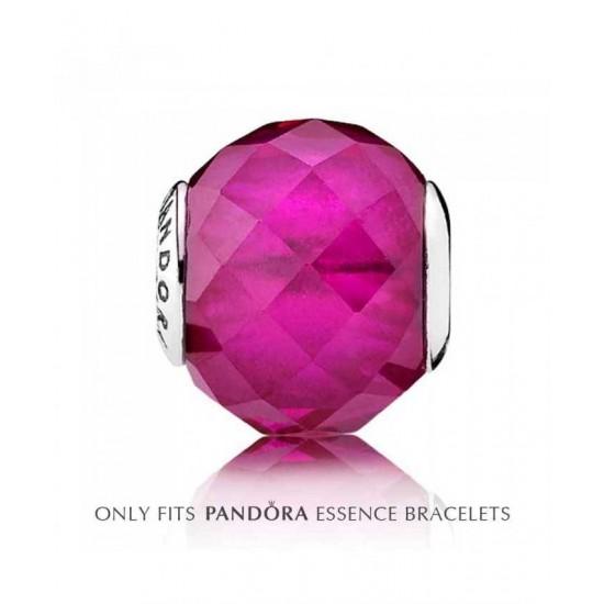 Pandora Charm-Essence Silver Pink Crystal Happiness Jewelry