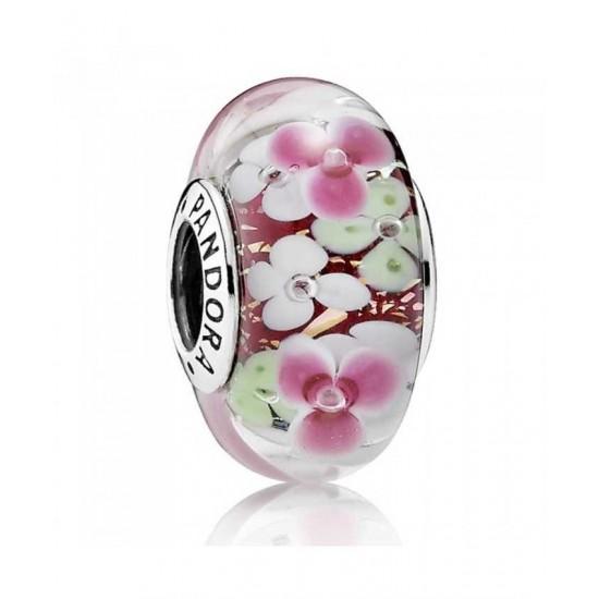 Pandora Charm-Oriental Bloom Pink Flower Garden Sterling Silver Glass Jewelry