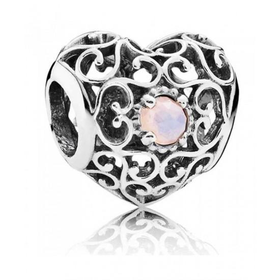 Pandora Charm-Silver October Birthstone Signature Heart Jewelry