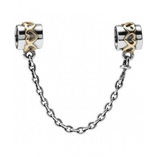 Pandora Safety Chain-Silver 14ct Gold Hearts Jewelry
