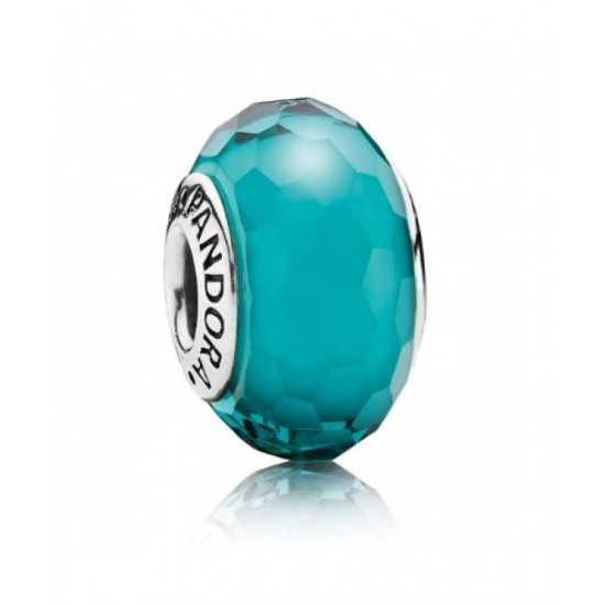 Pandora Bead-Silver Teal Faceted Murano Glass Jewelry