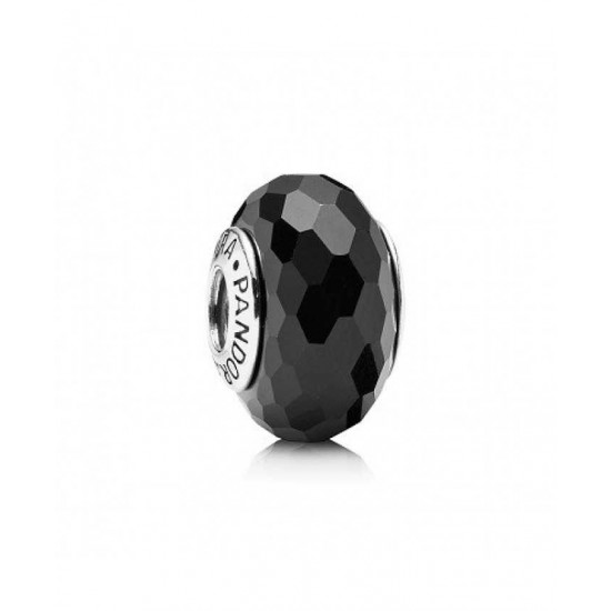 Pandora Bead-Sterling Silver Black Faceted Murano Glass Jewelry