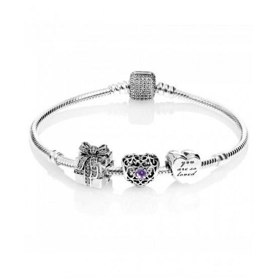 Pandora Bracelet-Sparkling February Birthstone Complete Jewelry