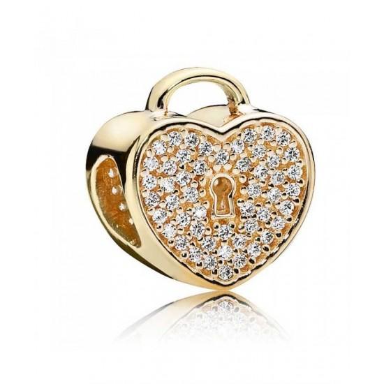 Pandora Charm-14ct Gold Cubic Zirconia Pave Padlock Jewelry