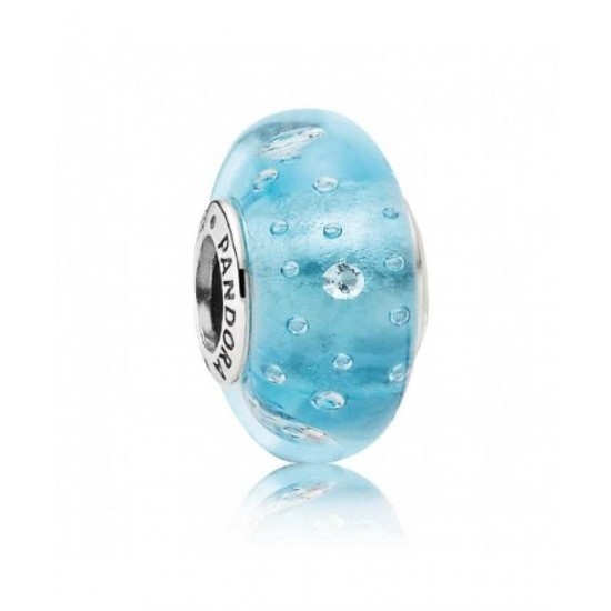 Pandora Charm-Silver And Blue Fizzle Murano Glass Jewelry