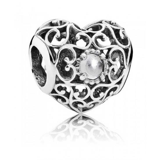 Pandora Charm-Silver April Birthstone Signature Heart Jewelry