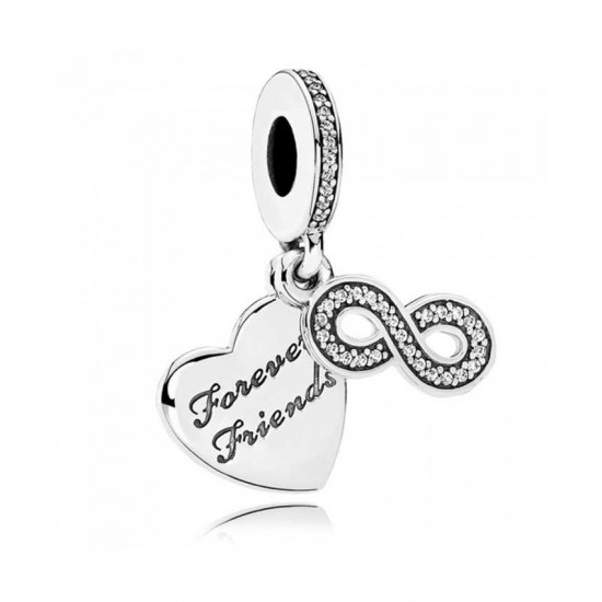 Pandora Charm-Silver Forever Friends Dropper Jewelry
