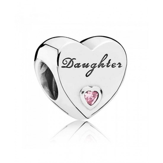 Pandora Charm-Silver Pink Cubic Zirconia Daughters Love Jewelry