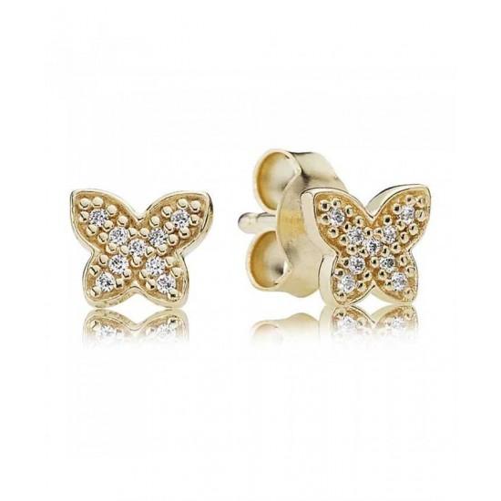 Pandora Earring-14ct Gold Cubic Zirconia Butterfly Stud Jewelry