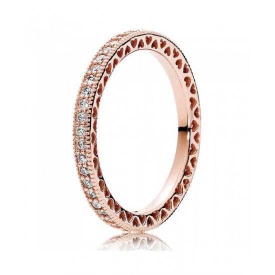 Pandora Ring-Rose Hearts Of Cubic Zirconia Eternity Jewelry