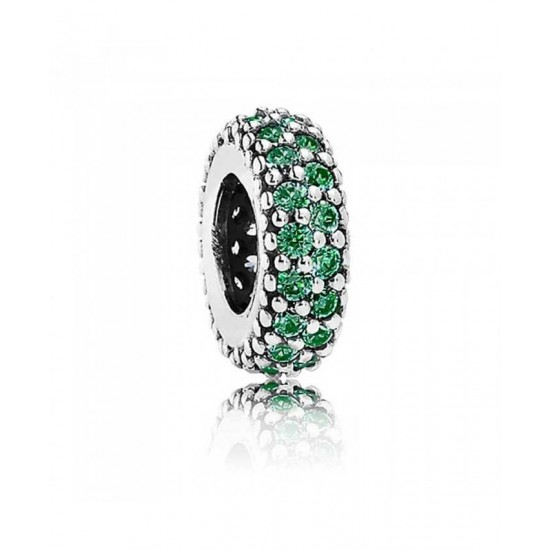Pandora Spacer-Silver Green Pave Cubic Zirconia Jewelry