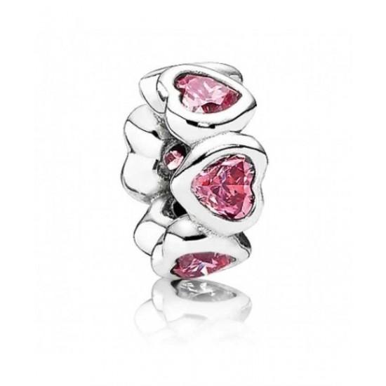 Pandora Spacer-Silver Pink Cz Heart Jewelry