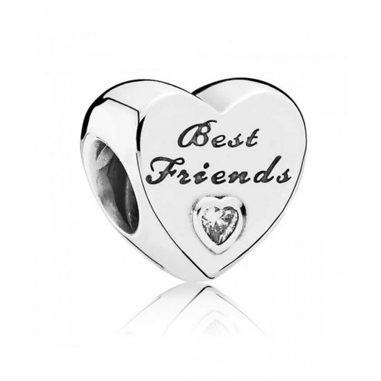 Pandora Charm-Silver Cubic Zirconia Friendship Heart Jewelry