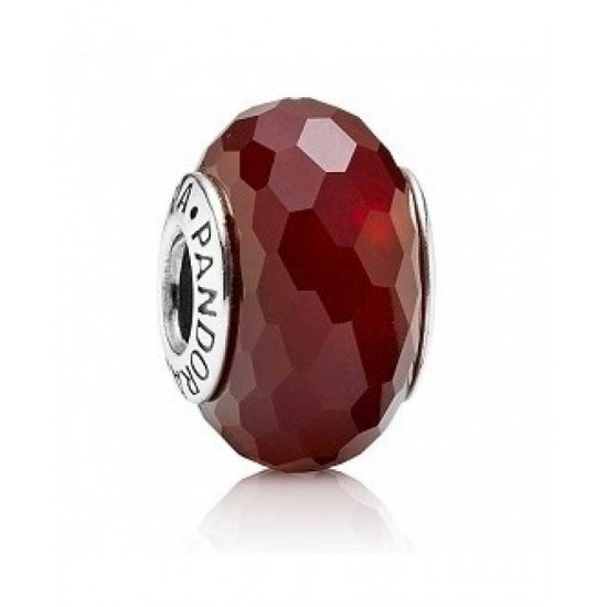 Pandora Bead-Sterling Silver Red Faceted Murano Glass Jewelry