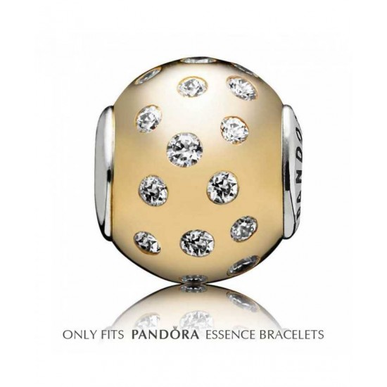 Pandora Charm-Essence Silver 14ct Gold Clear Cubic Zirconia Dignity Jewelry