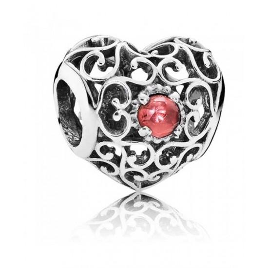 Pandora Charm-Silver January Birthstone Signature Heart Jewelry