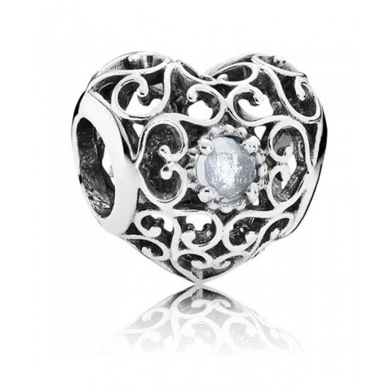 Pandora Charm-Silver March Birthstone Signature Heart Jewelry