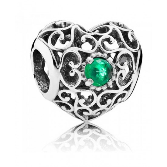 Pandora Charm-Silver May Birthstone Signature Heart Jewelry