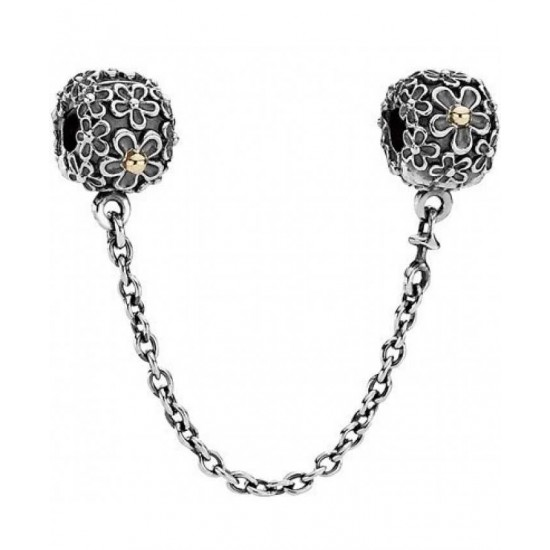 Pandora Safety Chain-14ct Gold And Silver Flower Jewelry
