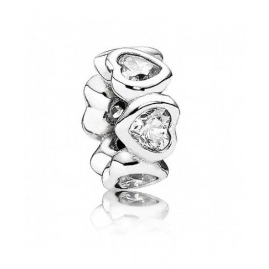 Pandora Spacer-Silver Clear Cz Heart Jewelry