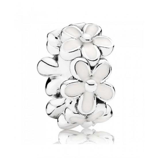 Pandora Spacer-Silver White Enamel Daisy Jewelry