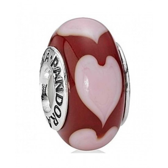 Pandora Bead-Silver Red Glass Hearts Jewelry