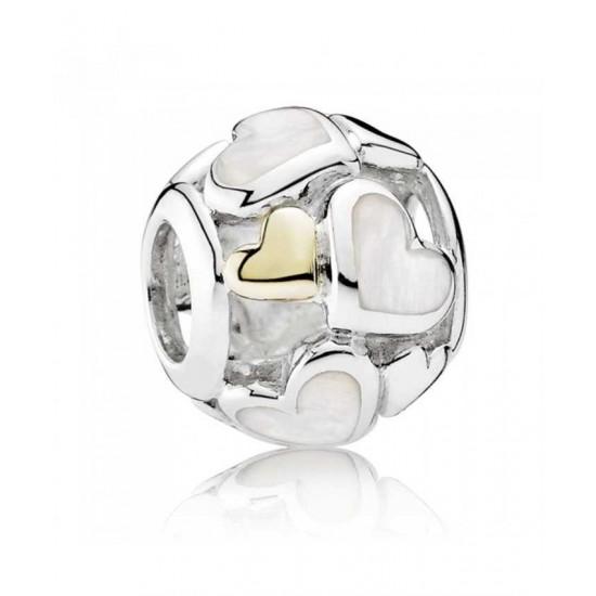 Pandora Charm-Silver 14ct Gold Cubic Zirconia Luminous Hearts Jewelry