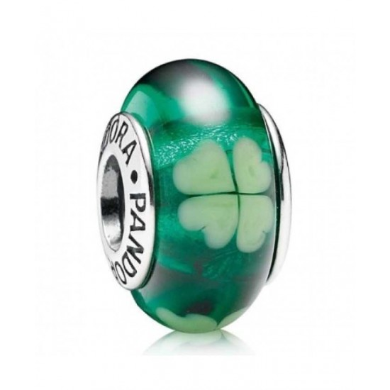 Pandora Charm-Silver And Green Clover Murano Glass Jewelry